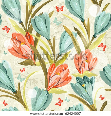 Elegance Seamless pattern with summer flowers on floral background, vector illustration - stock vector