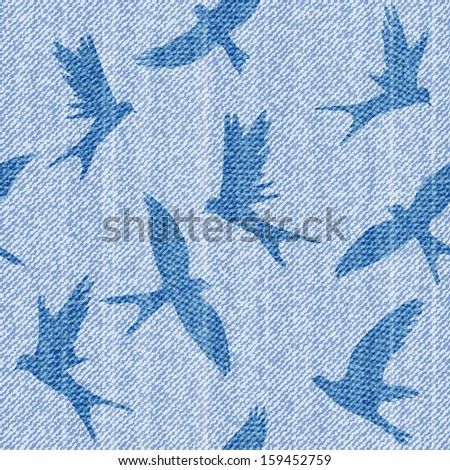 Elegance seamless vector pattern with  jeans brids. - stock vector