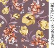 Elegance Seamless wallpaper pattern with of flowers on violet background, floral vector illustration - stock vector