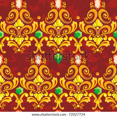 Elegance Seamless wallpaper pattern with of golden decoration element on floral background, vector illustration. - stock vector