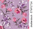 Elegance Seamless wallpaper pattern with of pink flowers on violet background, floral vector illustration - stock
