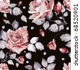 Elegance Seamless wallpaper pattern with of pink roses on black background, floral vector illustration - stock photo