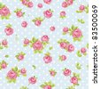 Elegance Seamless wallpaper pattern with of pink roses on blue background, vector illustration - stock vector
