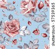 Elegance Seamless wallpaper pattern with of pink roses on canvas blue background, floral vector illustration - stock photo