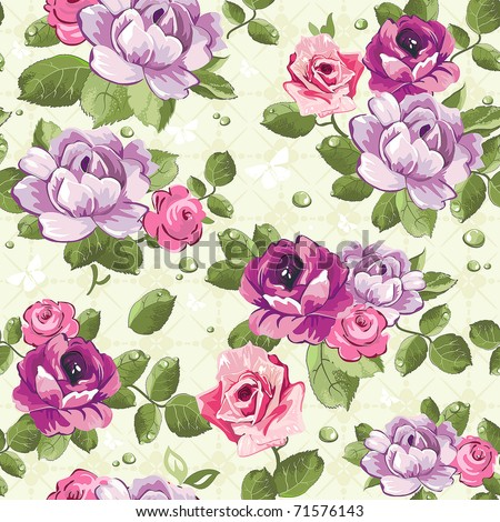 Elegance Seamless Wallpaper Pattern With Of Pink Roses On Floral Background Vector Illustration