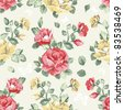 Elegance Seamless wallpaper pattern with of pink roses, vector illustration - stock photo