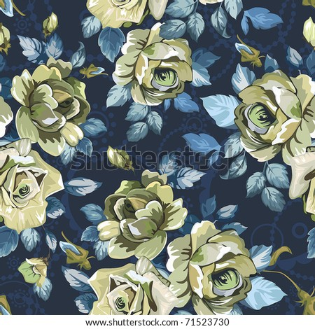 Elegance Seamless wallpaper pattern with of roses on violet background, vector illustration - stock vector