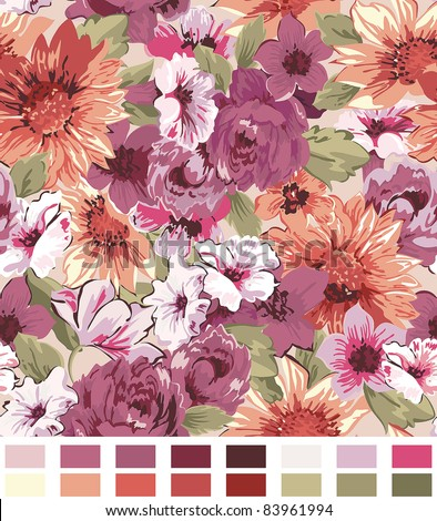 Elegance Seamless wallpaper pattern with of violet roses on floral background, vector illustration - stock vector