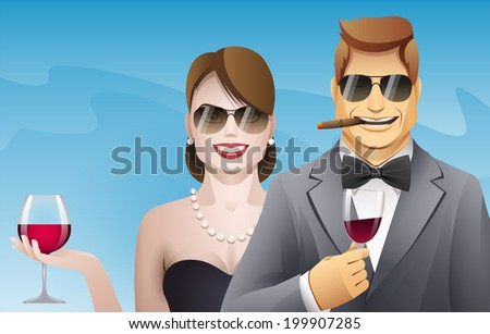 elegance smiling man and woman with glasses of wine - stock vector