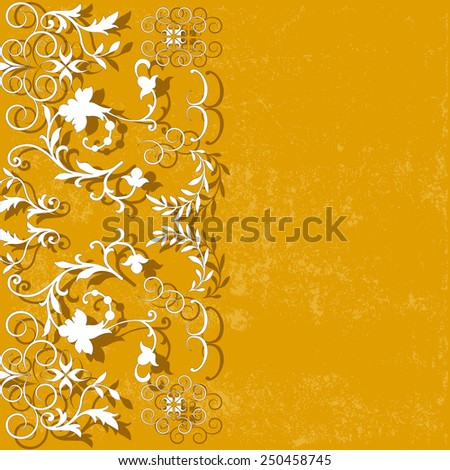 elegance yellow background with lace pattern, for greeting, invitation card, or cover. Vector, EPS 10 - stock vector