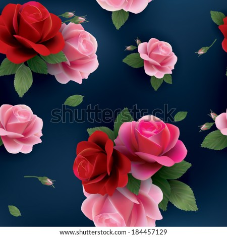 Elegant abstract seamless floral pattern with of red and pink roses. Vector background. - stock vector