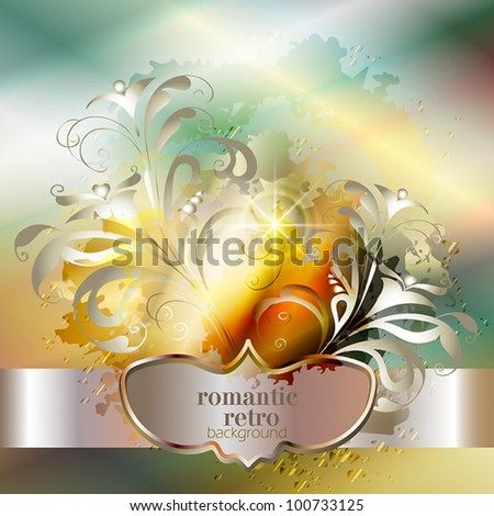 elegant abstract vector background in ancient style with a flower ornament romantic - stock vector
