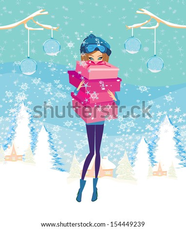 elegant and fashionable girl with gift box  - stock vector