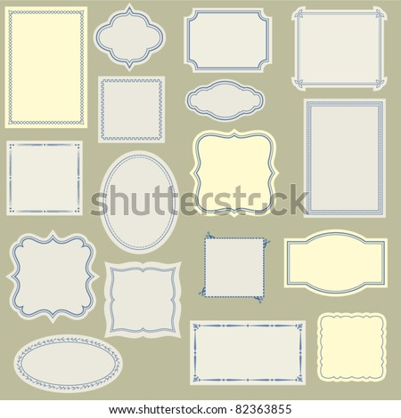 Elegant and Simple Vintage Labels, Frames and Stickers, with various Borders, to Use with Your Designs, on a Web Site or in Scrapbook Projects, Large Set - stock vector