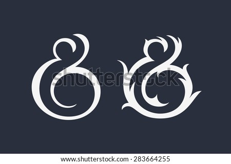 Elegant and stylish custom ampersands for print template, invitation or greeting card. Vector illustration