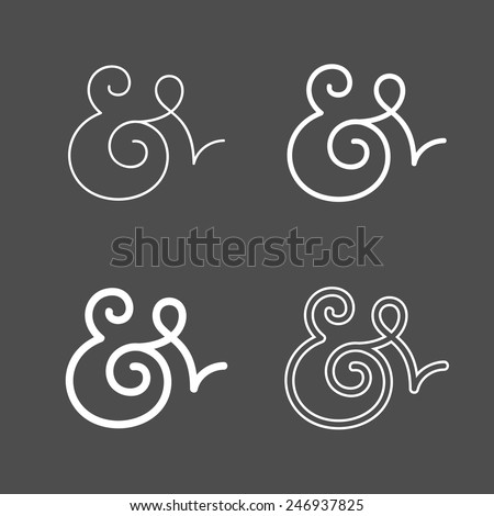 Elegant and stylish custom ampersands for wedding invitation or business card. Vector illustration - stock vector