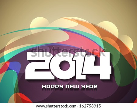 elegant background with colorful modern design for happy new year 2014. vector illustration - stock vector