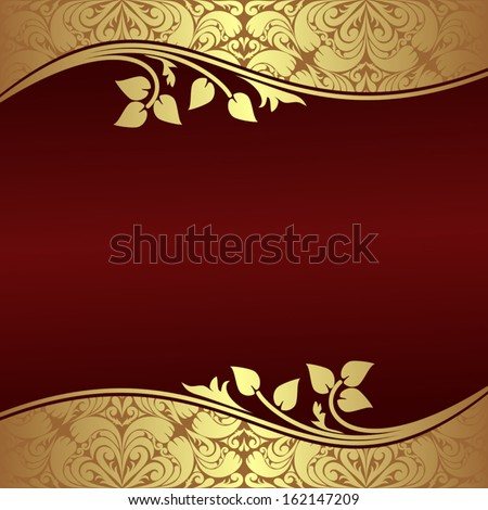Elegant Background with floral golden Borders.  - stock vector
