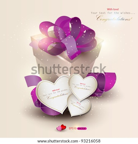 Elegant background with gift and gift cards. Vector illustration - stock vector