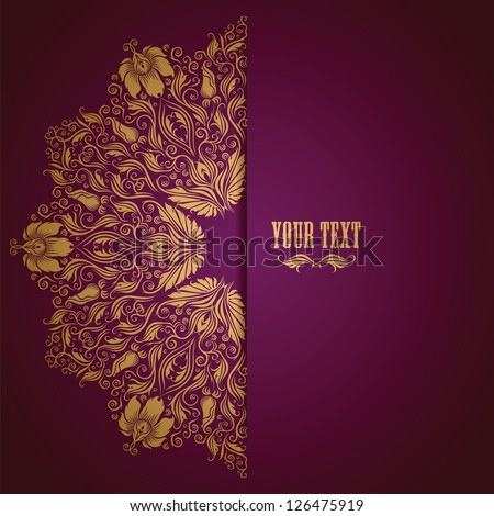 Elegant background with lace ornament and place for text. Floral elements, ornate background. Vector illustration. EPS 10. - stock vector