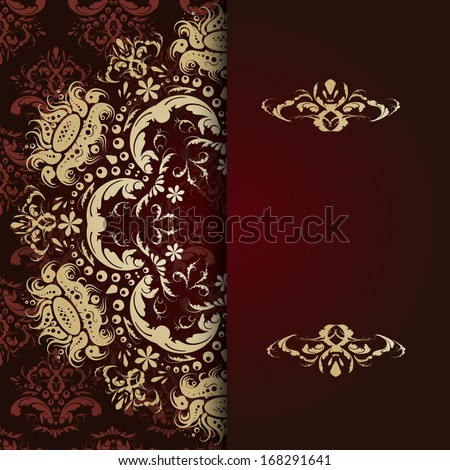 Elegant background with lace ornament and place for text. Floral elements, ornate background. Vector illustration - stock vector