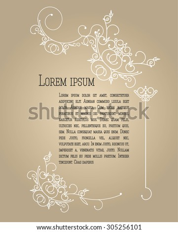 Elegant background with lace ornament and place for text. Floral elements, ornate background. Set of decorative, calligraphic design elements, pattern can be used for invitation, congratulation - stock vector