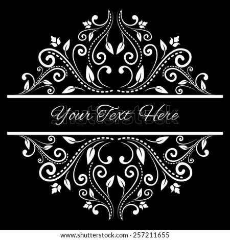 Elegant background with lace ornament and sample text in black and white. Page decoration. Vector illustration. Can use for birthday card, wedding invitations  - stock vector