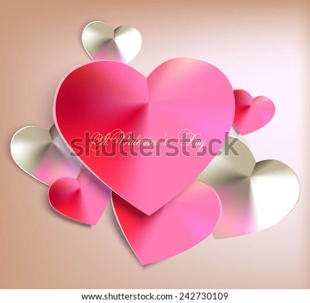 elegant background with satin hearts. Vector illustration - stock vector