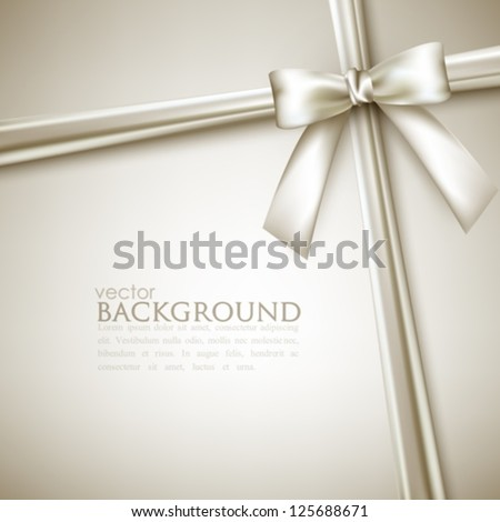 elegant background with white bow - stock vector
