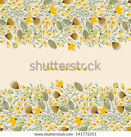 Elegant banner with yellow flowers and place for your text, vector illustration - stock vector