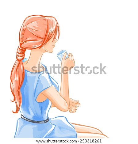 Elegant beautiful woman in blue dress sits and drinks beverage tea or coffee. Girl smiles a little. Tracing of water-color initation. Vector hand drawn. - stock vector