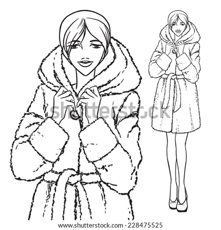 Elegant beautiful woman wears winter clothes, fur coat. Vector monochrome hand drawing. - stock vector
