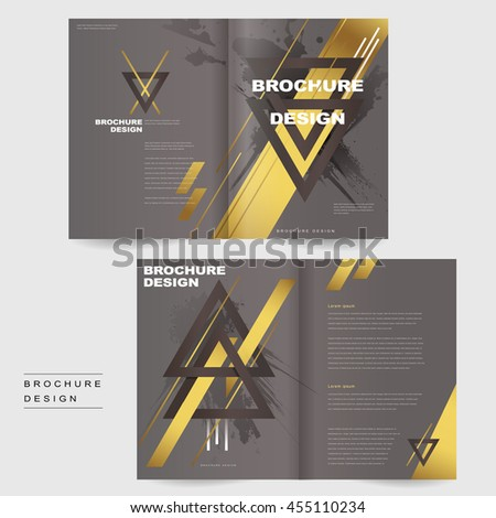 Elegant Bifold Brochure Template Design Triangles Stock Vector - Elegant brochure templates