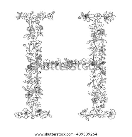 Elegant Black And White Floral English Typography Sign Letter Outline Adult Coloring Page Book H