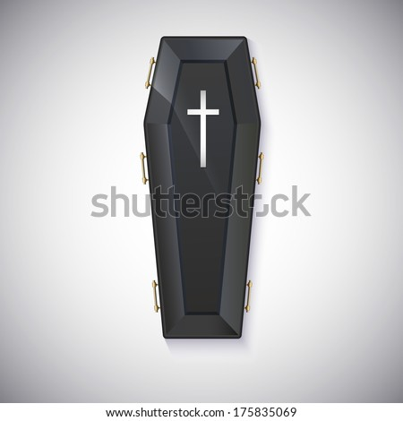 Elegant black coffin with glare and yellow handles - stock vector