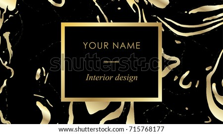 Elegant Black Luxury Business Cards With Marble Texture And Gold Detail Template Banner Golden