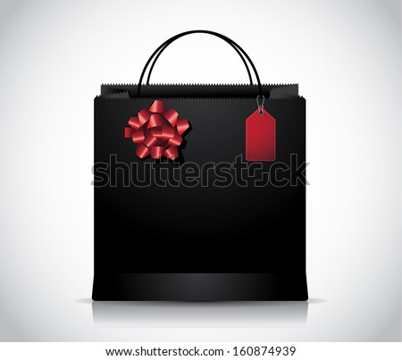 Elegant black shopping bag with sales tag and red bow. EPS 10 vector, grouped for easy editing. No open shapes or paths.