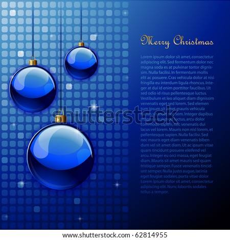 Elegant blue christmas background with ornaments and modern background