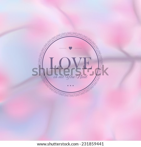Elegant  blurred vector illustration  with a blossoming branch - stock vector