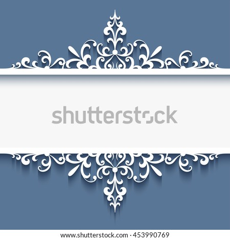 Elegant border ornament, decorative frame with cutout paper swirls, divider, header, vector greeting card or wedding invitation template, eps10 - stock vector