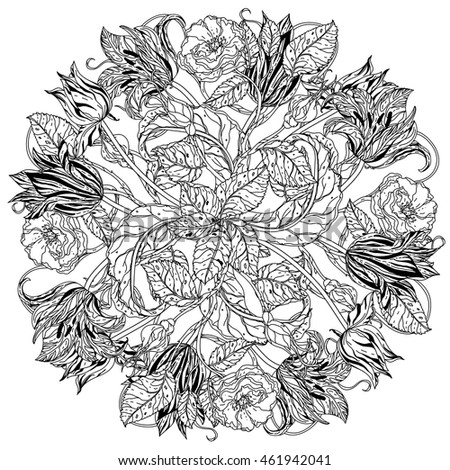 Elegant Bouquet Of Contoured Garden Flowers Leaves Black And White For Adult Coloring