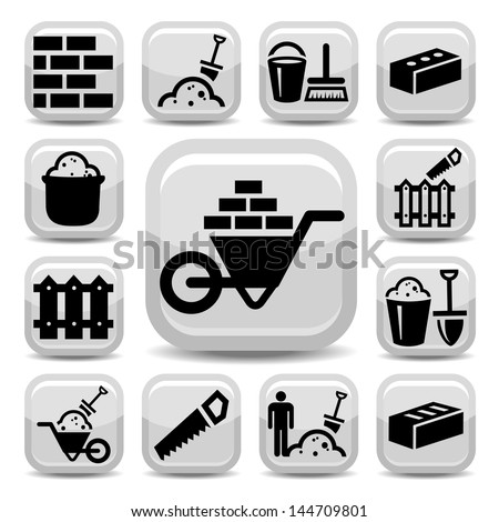 Elegant Bricklayer Icons Set Created For Mobile, Web And Applications. - stock vector