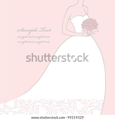 Elegant Bride holding flowers on pink background - stock vector