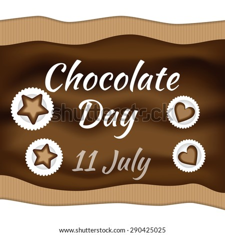 Elegant brown color background with beautiful text design of chocolate day 11 july.