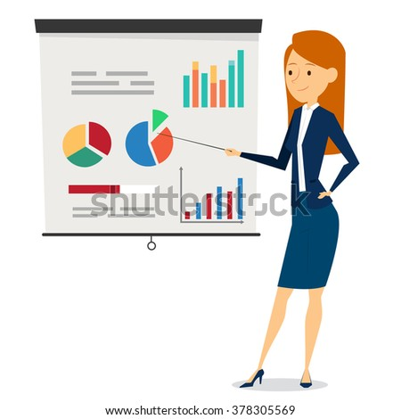 Elegant Business Woman Character Design With Presentation - stock vector