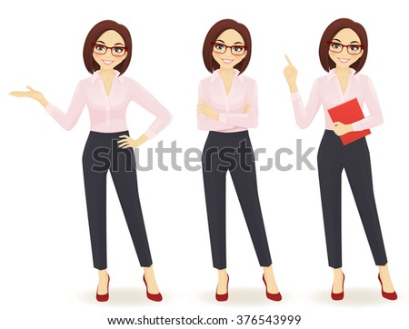 Elegant business woman in different poses - stock vector