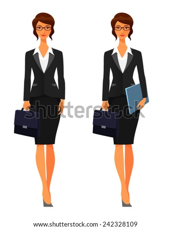 elegant business woman with briefcase - stock vector