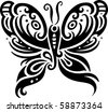 Elegant butterfly design in contemporary style inspired by tribal art. - stock photo