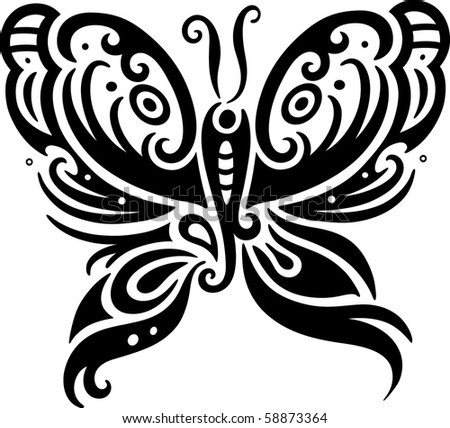 Elegant butterfly design in contemporary style inspired by tribal art. - stock vector