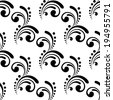 Elegant calligraphic design motif with swirls and dots in a repeat seamless background pattern in black and white - stock vector